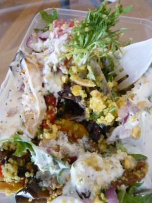 Cous cous salad with rost vegs and mint yoghurt
