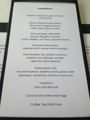 Degustation menu